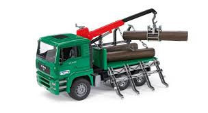 Amazon.com: Bruder Toys Man Timber Truck With Loading Crane And 3 ...