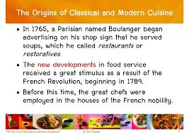 classical cuisine chapter 1 the foodservice industry
