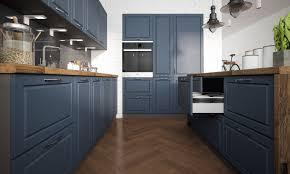 küchenblock küchenzeile landhaus u form 260x160x180cm grau stahlblau matt lackiert