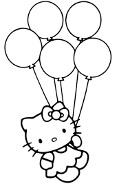 Click To See Printable Version Of Hello Kitty With Balloons Coloring Page