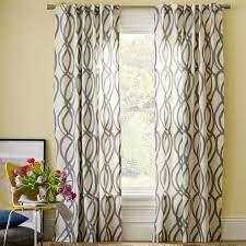 cotton canvas scribble lattice curtains set of 2 feather gray