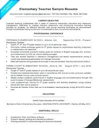 Resume Examples For Primary Teachers And Sample Of Teaching Example Elementary Teacher