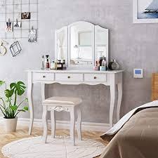 homecho schminktisch frisiertisch mit hocker und abnehmbarer spiegel kosmetiktisch weiß frisierkommode mit schubladen für schlafzimmer schminkkommode