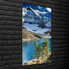 details zu wandbilder glasbilder wohnzimmer 70x140 kanada blauer see felsiger berg