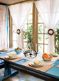 Stunning White Fabric Homemade Dining Room Curtains With Blue Square Table Decor As Romantic Decorating Ideas
