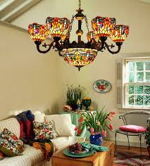 Tiffany Style Lamp Shades by Makenier Vintage Tiffany Style Cyan And Red Stained Glass