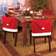 2018 Red Color Festival Christmas Decorations Home Party Holiday Santa Claus Hat Chair Covers Dinner Cap Sets M126 From Melodybridal 3337