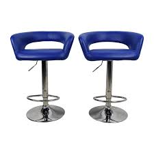 79% OFF - AllModern All Modern Blue Leather Adjustable Height Swivel Bar  Stools / Chairs