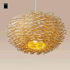 Wicker Nest Pendant Light Fixture Asia Rustic Japan Style Hanging Lamp Avize Luminaria Design Indoor Home