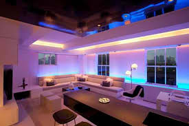 modern apartment furniture with mood lighting home design
