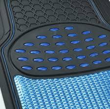 Oxgord Rubber Floor Mats by 4pc Car Rubber Floor Mats Front Rear Blue Metallic Trimmable Heavy