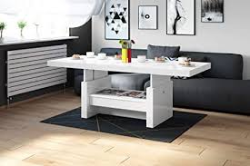 design couchtisch tisch aversa h 111 weiß hochglanz schublade höhenverstellbar ausziehbar esstisch