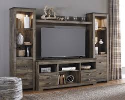 Signature Design By Ashley Trinell Rustic Large TV Stand 2 Tall Piers