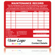 Extra Large Personalised Fire Extinguisher Inspection Labels In Full Colour