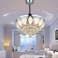 Online Cheap Modern Crystal Ceiling Fan 42 Inch Invisible Blades Led Folding Fans Light Chandeliers Living Room Dining Lamp Remote Control By