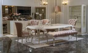 casa padrino luxus barock esszimmer set rosa weiß beige 1 esszimmertisch 4 esszimmerstühle 1 sitzbank barock esszimmer möbel