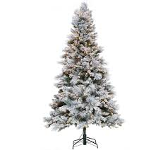 75 Pre Lit Flocked Christmas Tree by Hallmark 7 5 U0027 Snowdrift Spruce Tree With Quick Set Technology