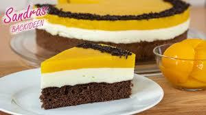 pfirsich sahne torte mit schokobiskuit einfach schnell lecker leichtes rezept cake