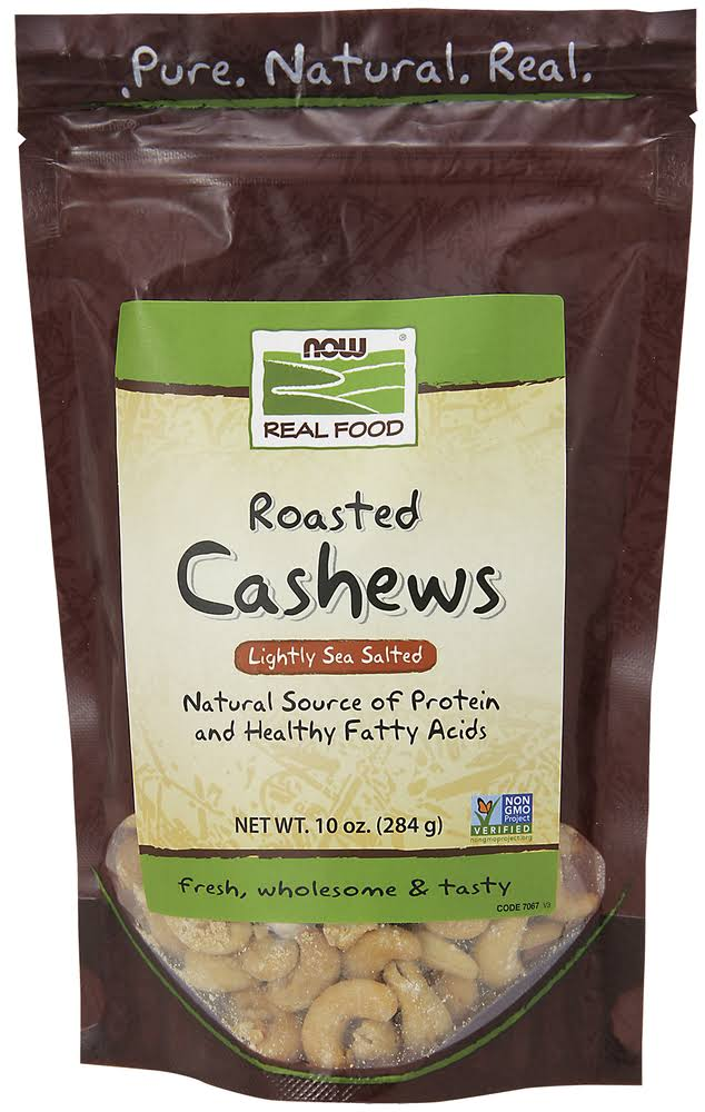 Now Foods Roasted Cashews - Lightly Sea Salted, 284g