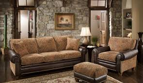Stunning Rustic Living Room Furniture Design With Fancy Brown Sofa Ideas