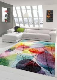 teppich modern teppich wohnzimmer laub bunt
