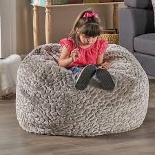 Details About Laraine Furry Glam Grey Pebble Pattern Faux Fur 3 Ft. Bean Bag
