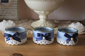 pot de yaourt recyclable photophores romantiques fil de coton et dentelle shabby ou