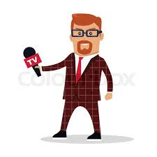 TV Journalist Reporter Illustration Live Broadcast Breaking News Concept Man In Brown Checkered Suite With Microphone Isolated On White Background