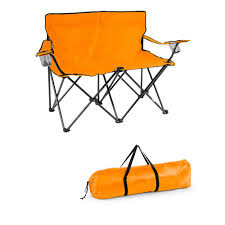 Picnic Time Reclining Camp Chair by Trademark Innovations Orange 31 5 In H Loveseat Style Steel Frame