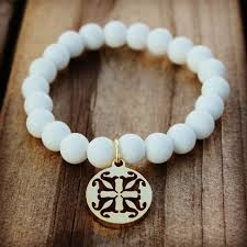 The RC Girls Cate White Features Soft Silicone Beads With Choice Of A Silver Or Gold Rustic Cuff Logo Fits Most From Ages