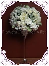 White Ivory Classic Silk Bridal Flower Centerpiece For Hire To Melbourne And Surrounds