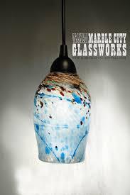 blue speckled blown glass pendant light unique lighting