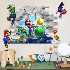 Vista 3D Super Mario Juegos Art Kids Room Decor Wall Sticker Etiquetas De La Pared Mural WS En Pegatinas Casa Y Jardn AliExpress