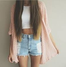 There Are 14 Tips To Buy This Cardigan Pink Jacket White Top Crop Tops Denim Shorts Summer Outfits Blouse Pastel