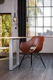 kawola stuhl zaja esszimmerstuhl kunstleder vintage cognac