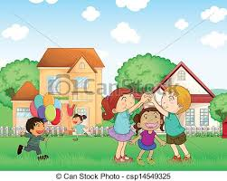 Children Playing Outside Illustration Of The