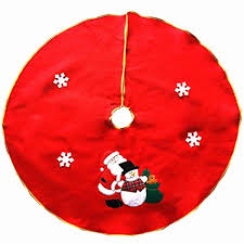 FinerMe Nonwovens Red Christmas Tree Skirt 36 Inch Xmas Embroidered With Snowman And Snowflake