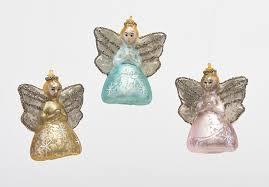 180 Degrees Mercury Glass Christmas Tree Angel Ornaments Set Of 3