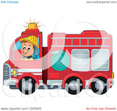 100 Fire Truck Clipart Of A Cartoon White Male Man Driving A