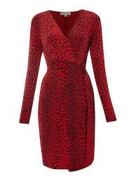 michael michael kors leopard print jersey dress in red lyst