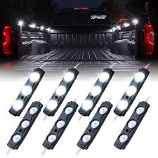 8 White LED Rock Light Pods Truck Bed Lighting Kit | Xprite Best Truck Bed Lights 2017 Partsam Amazoncom Genuine Ford Fl3z13e754a Led Light Kit Rear Rugged Liner F150 With Cargo Without How To Install Cabin Switch Youtube Fxible Strip Truck Bed Lights F150online Forums 8 White Rock Pods Lighting Xprite 60 2 Strips Rail Awning Truxedo Blight Tonneau System Free Shipping 200914 Ingrated Full F150ledscom Magnetic Under The Lux Systems Led For Of Decor Kit Chevyoffroading