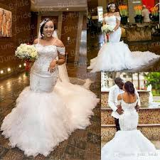 Gorgeous Plus Size Mermaid Wedding Dresses 2018 Sexy Off Shoulder Applique Spaghetti Chapel Bridal Gowns Custom Made For Big Brides Glamor