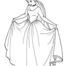 Cinderella In Her Wedding Dress Coloring Page
