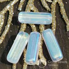 100 Ab Flat Clear AB Glass Tube Beads Czech Glass Beads Rectangle Tube