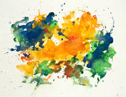 Yellow Green Abstract Watercolor Art On Paper Nr G 616 2007 Painting Drip Home Design 17