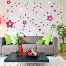 Wall Decal Floral Pink Flower Decals On Living Room Home Decorating