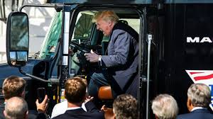 100 Naked Truck Driver President Trump Climbs Into An 18wheeler And Pretends To Be A