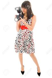 photographer young in nice dress with dslr camera