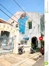 Famous Street Mural Artists by Penang Famous Street Art Mural In Georgetown Editorial Photo