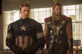 Chris Evans As Captain America Next To Hemsworths Thor In Avengers Age Of Ultron Says Infinity War Part 1 2 Will Go Front